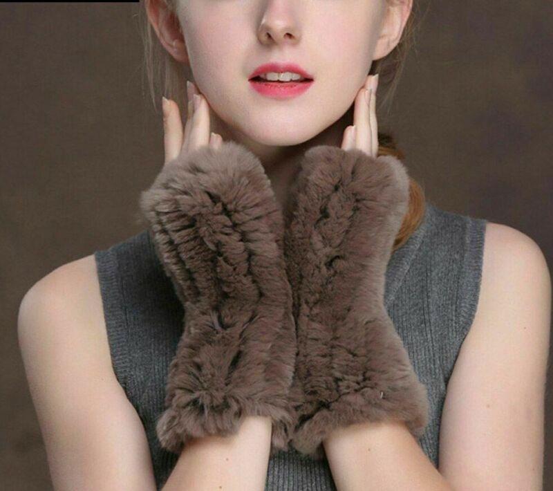 Elastic Women Fashion Knit Natural Rex Real Rabbit Fur Good Mitten Gloves Design High Quality Materials