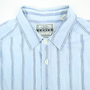 Vtg-LEVIs-Shirt-Mens-LARGE-Heritage-Striped-Chore-Blue-Long-Sleeve-Button-Down