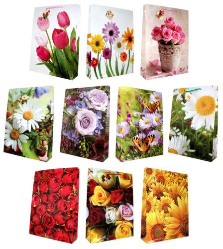 10 Geschenktüten Blumen Jumbo XXL 44x32x10cm Geschenktaschen Tragetasche 99-9012