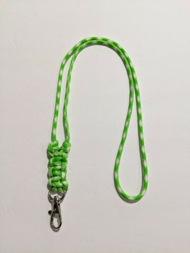 Details about  /Lime Green and White Minimalist Paracord or Parachute Cord ID Lanyard