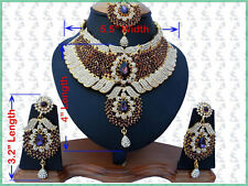 INDIAN JEWELLERY SET KUNDAN STYLE GOLD PLATED PURPLE CLEAR STONES NEW
