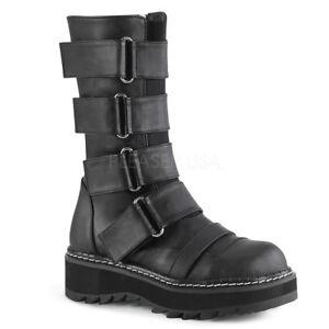 Demonia LILITH-211 Womens Black Vegan Leather Platform Front Strap Mid-Calf Boot