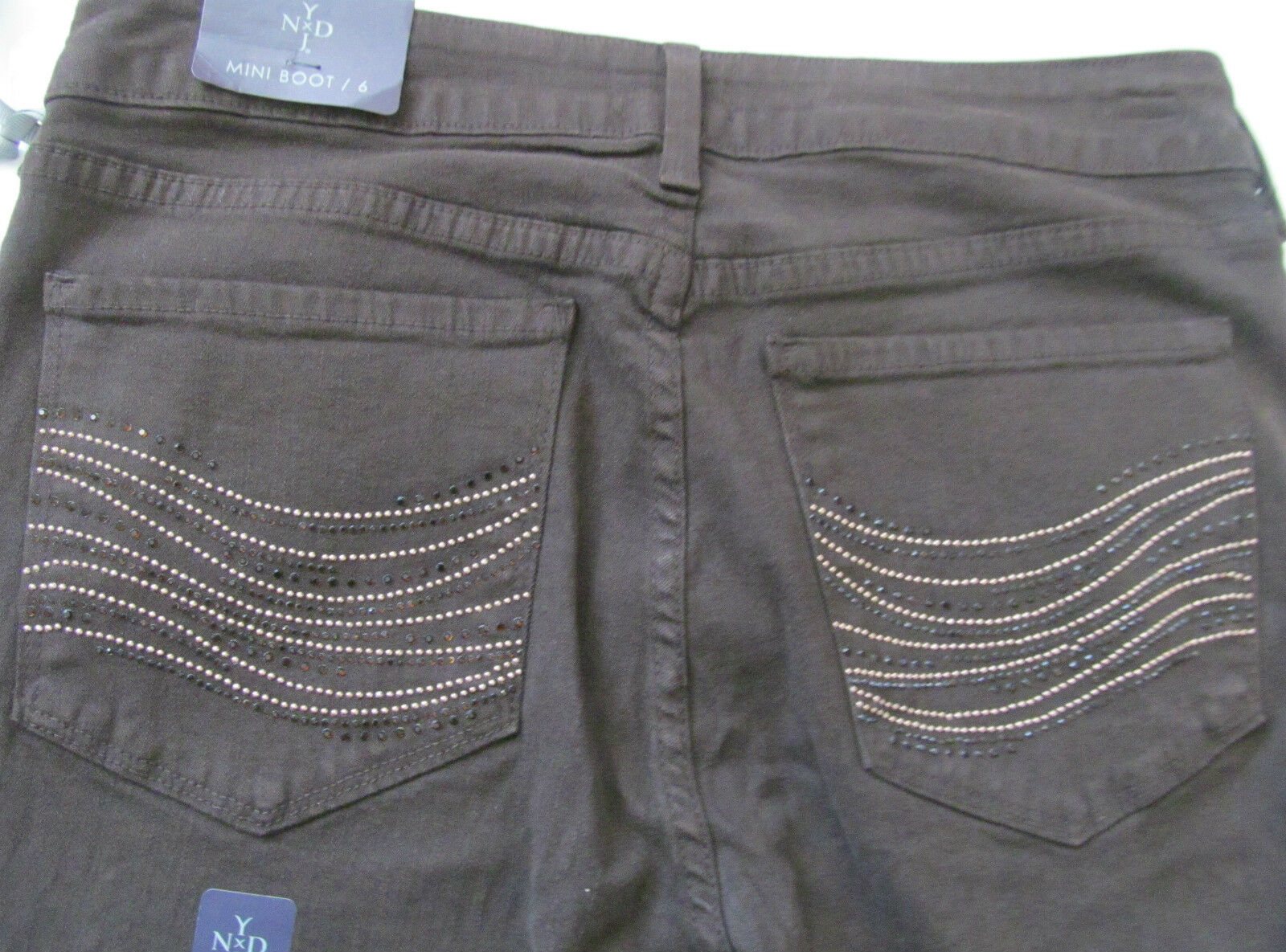 Not Your Daughter Jeans NYDJ Billie  MiniBoot mahogany microstudded Jeans - NWT