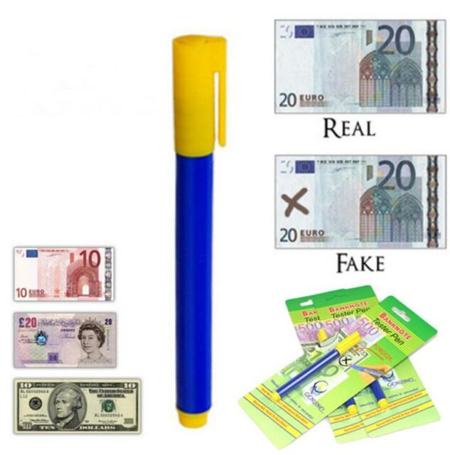 2x New Bank Note Tester Pen Money Check Detector Marker Fake Banknotes Office Fb