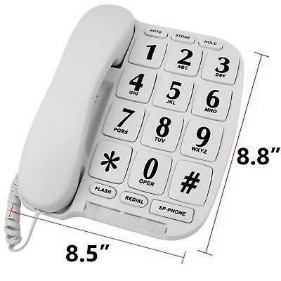 Large Number Big Button Telephone Handset White Home Phone With Speaker /& Memory