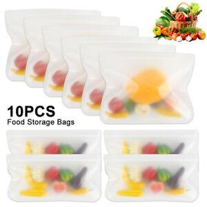 10x-cuisine-frais-Zip-lock-sacs-reutilisables-stockage-congelateur-silicone