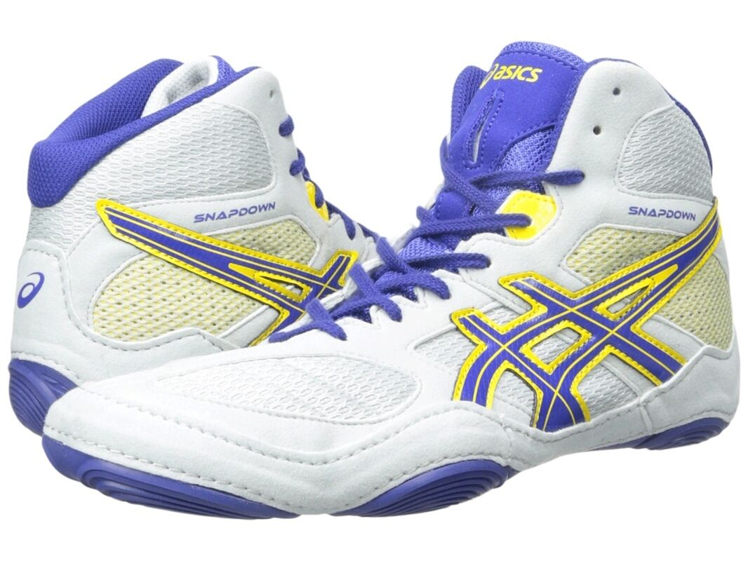 NEW Men's Asics Snapdown Shoes, Grey/Blue/Yellow, Size 9.5