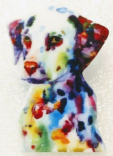 Dalmatian Dog Pup Large Artistic Multicolor Acrylic Pin Brooch Jewelry