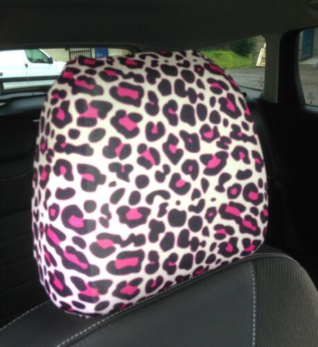 Pink Schwarz Leopardenmuster Design Autositz Kopfstützen Bezüge Doppelpackung