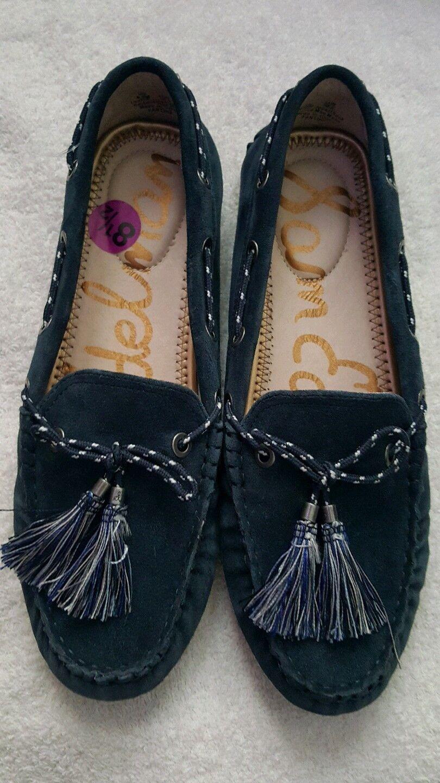 Sam Edelman Jaden Mujer Azul Oscuro Borla De Cuero Cuero Cuero De Gamuza Con Tachas Flats 9.5  a la venta