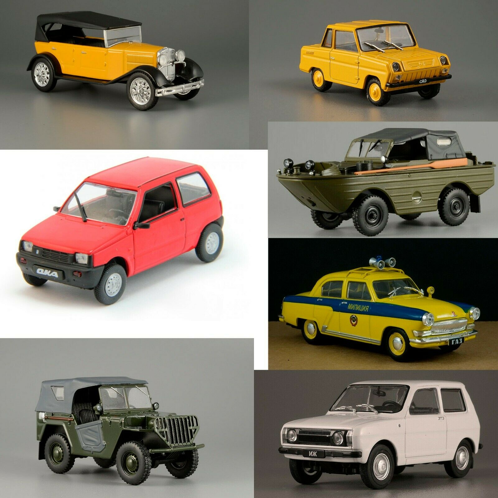 Rare Collection of 7 Soviet Cars USSR 20th Century 1 43 Scale Collectible Model