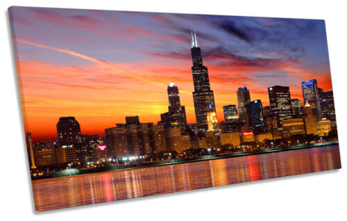 Chicago Skyline City Sunset PANORAMA CANVAS WALL ART Picture Print