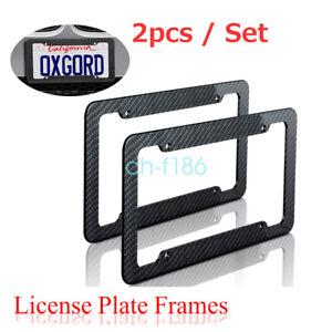 Plastic Carbon Fiber Style License Plate Frames For Front /& Rear Braket 2pc Set