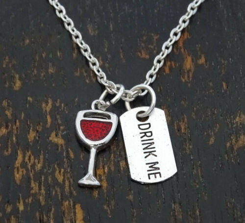 Wine Jewelry Wine Pendant Wine Charm Wine Necklace Drink me Charm