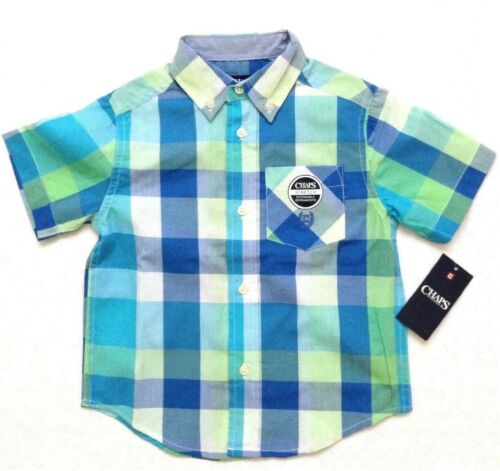 Chaps Little Boys Plaid Short-Sleeve Button Down Shirt Turquoise Size 4