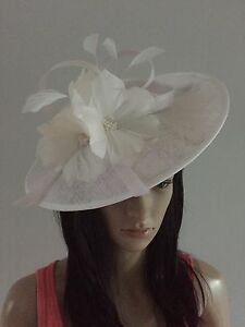 Image Is Loading White Wedding Ascot Fascinator Disc Hat Mother Of