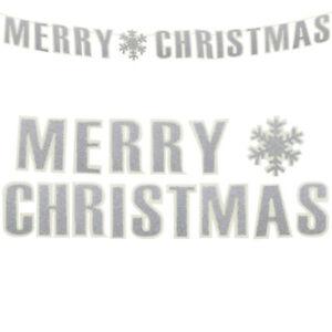 Feliz Navidad Guirnalda Decoración Para Colgar De Fieltro 1 6m Blanco Y Plata Ebay