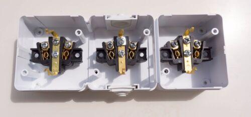 3er Steckdose weiss 3-fach Feuchtraum IP44 16A 250V Aufputz-Montage