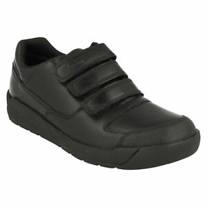 Lite Zapatos Loop Clarks School Leather Casual Negro Flare Entrenadores Chicos Hook Triple dOCpX