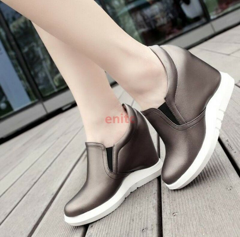 2019 Korean Wedge Shoes High Heels Low Top Slip On Womens Sneakers Loafers W-45