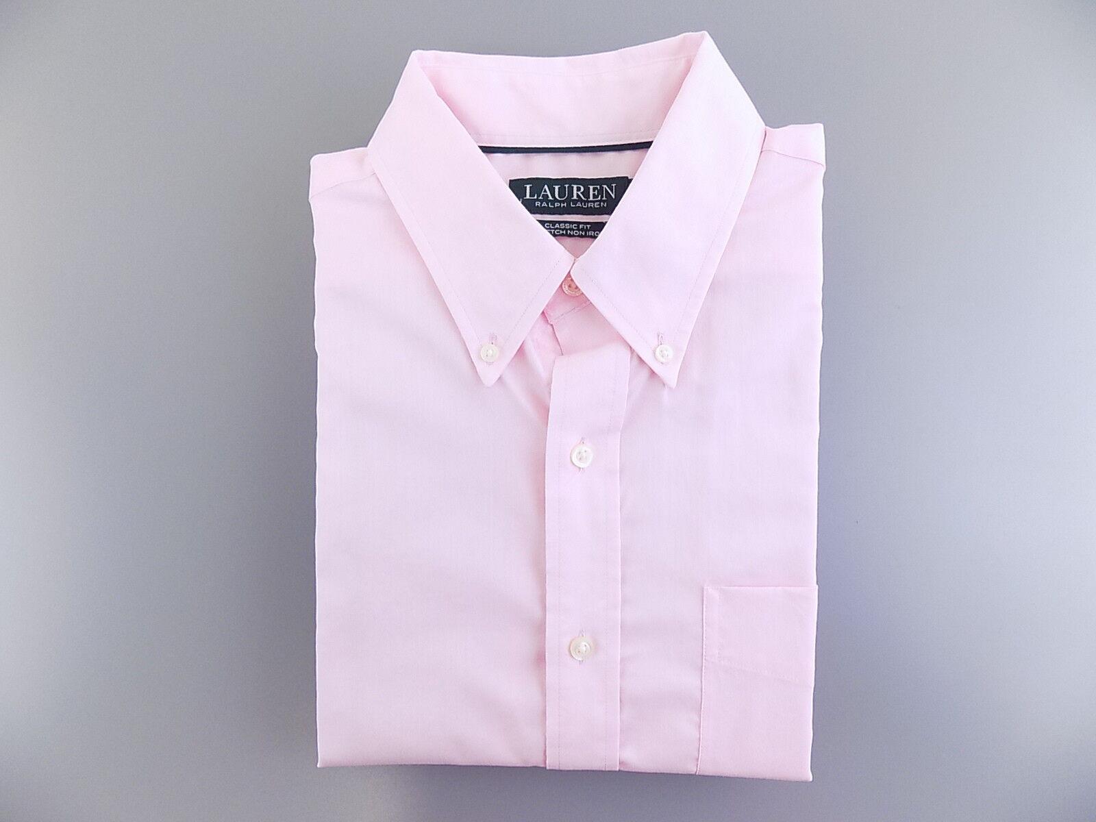 POLO RALPH LAUREN  Pink 16 x 32 33 Classic Fit MEN DRESS SHIRT NON IRON  L21