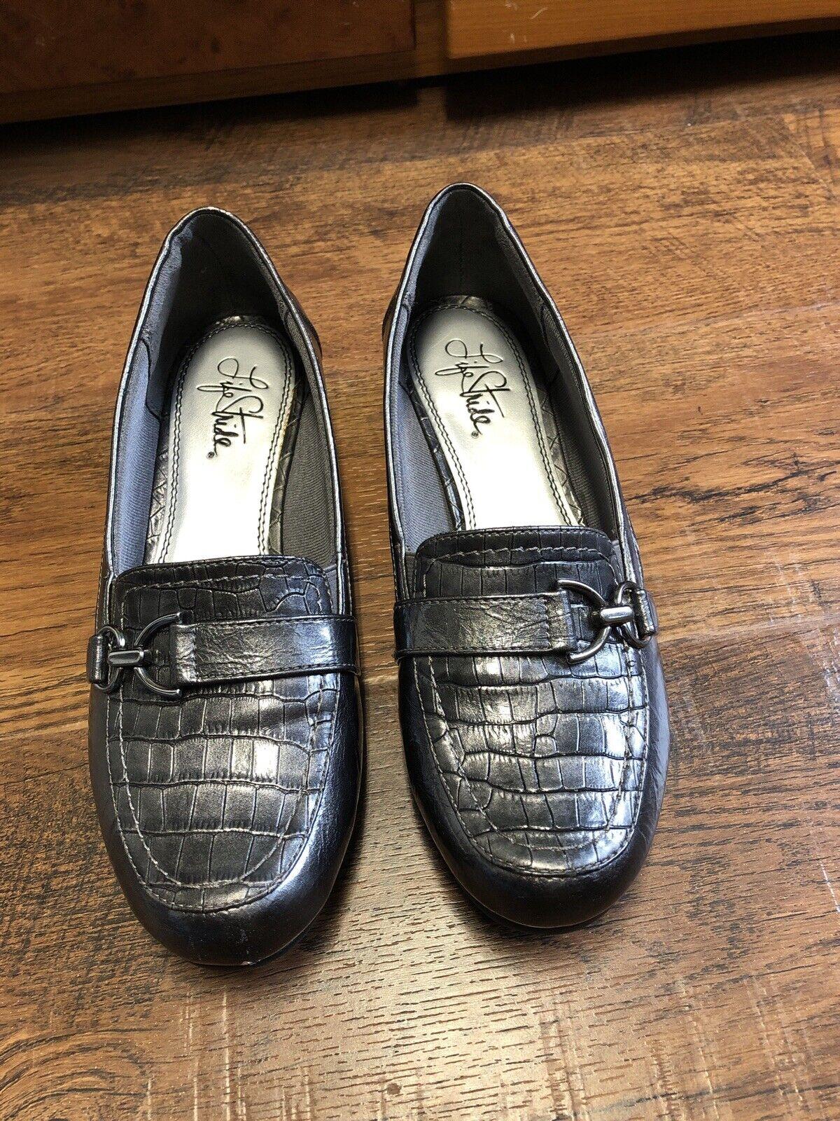 Lifestride Damon Women Loafers Grey Gray Metallic Work Flat Heels Shoes Size 8