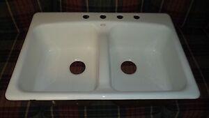 Details about Kohler Cast Iron White Enamel Double Basin 4 Hole Kitchen Sink