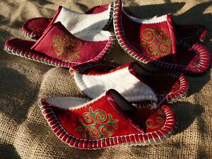 Filzpantoffeln-Echtleder-Sohle-Handarbeit-Kirgisien-Filz-Hausschuhe-Filzpuschen