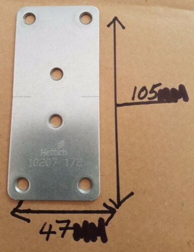 2 x Kitchen Door and Drawer Joining Connecting Plate Galvanised Steel by Hettich