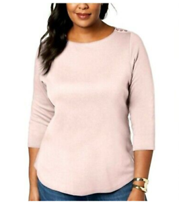 NEW-Charter-Club-Plus-3-4-Sleeve-Boat-Neck-Cotton-Top-Pink-Sizes-0X-1X-2X-3X