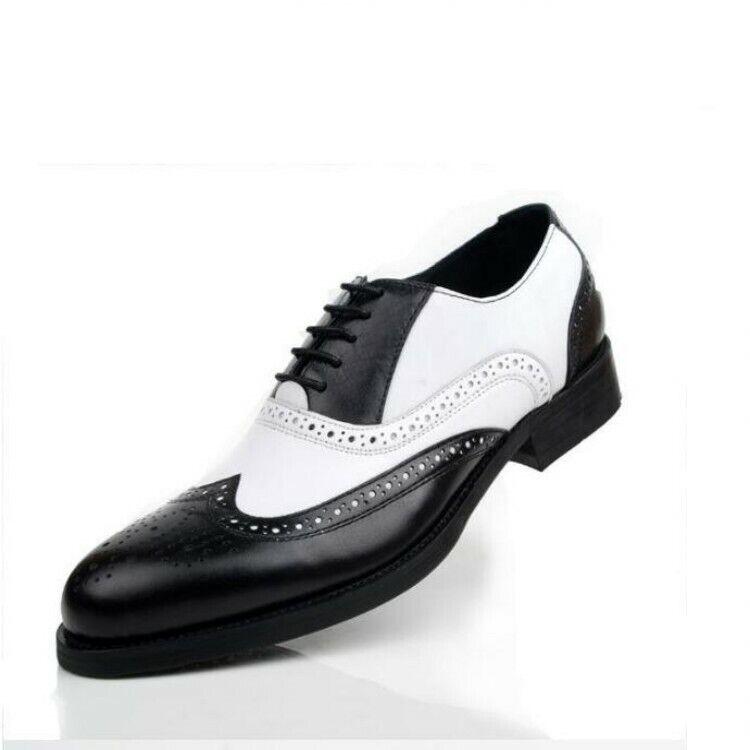 Mens genuine Leather Brogue Brogue Brogue scarpe Coloreeee Splice Carved Wing Tip scarpe Dimensione 6-10.5 60ab2d