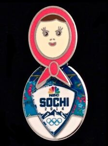 2014-Sochi-NBC-Logo-Olympic-Pin-Badge-Nesting-Doll-with-Moveable-head-Media-NEW