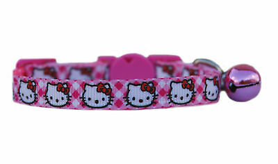 """super cute pink check hello kitty   safety kitten cat  now up to 12"""" collar"""