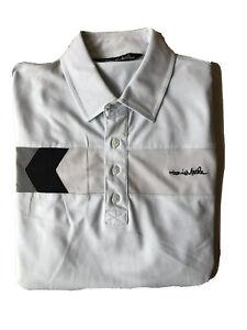 Travis-Mathew-Golf-Polo-Men-s-Large-Blue-W-Silver-Gray-Black-Stripe-Logo