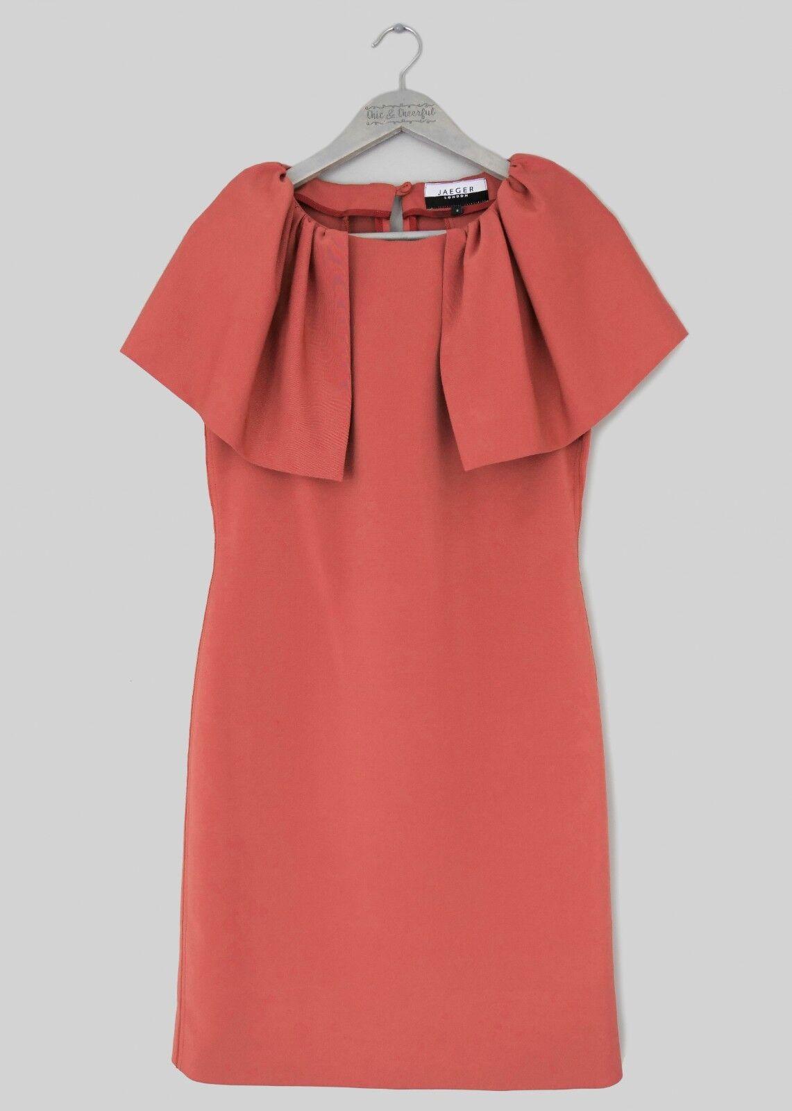 JAEGER damen TERRACOTTA RUST Orange CAPE SLEEVE DRESS -UK 8 EU 36-
