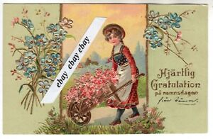 Used 1904 Beautiful Antique Greetings Postcard Girl Flowers Sweden Swedish Ebay