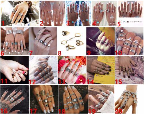 UK Boho Crystal Gem Silver Gold Fashion Midi Mid Finger Knuckle Band Rings Set