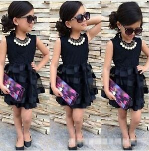 Details about Toddler baby girls\u0027 summer black dress Princess Party Wedding  Dresses
