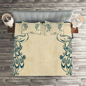 Beige-Teal-Quilted-Coverlet-amp-Pillow-Shams-Set-Vintage-Peacock-Bird-Print