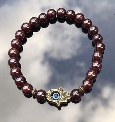 GARNET JAPA MALA BRACELET ROSARY Natural Gemstone Hamsa BEADS ENHANCES STRENGTH