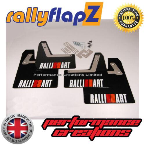 RallyflapZ MITSUBISHI EVO 7 RS Mud Flaps /& Fijaciones 4 mm Negro Ralliart-Blanco R/&O
