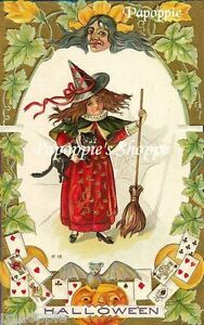 Fabric-Block-Halloween-Vintage-Postcard-Image-Girl-Trick-or-Treat-Small-Witch