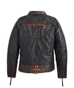 Xl Harley Xs Giacca Donna Marrone Davidson Di M Vintage 97174 Paxton 14vw Pelle wa7p6