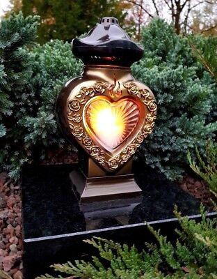 Grablaterne Grablampe Lampe Grab Grableuchte Granit Grablicht Kerze Engel  Herz