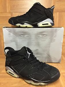 88e8c549e350 RARE🔥 Nike Air Jordan VI 6 Retro Low Black Metallic Silver Sz 6.5 ...