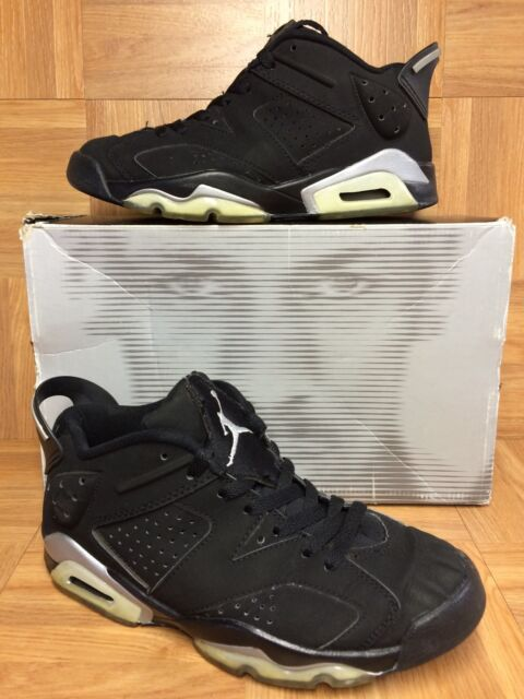 32015803082081 RARE🔥 Nike Air Jordan VI 6 Retro Low Black Metallic Silver Sz 6.5 304401-