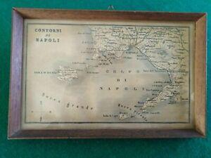 CARTINA-DEI-034-CONTORNI-DI-NAPOLI-034-EPOCA-INTORNO-ANNO-1860-IN-CORNICE