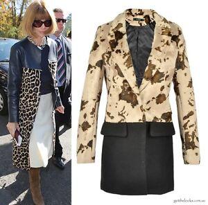 image is loading animal leopard print color block black fur coat