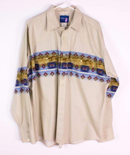 Vintage Wrangler Mens XL Rancher Western Cowboy Horses Pearl Snap Shirt