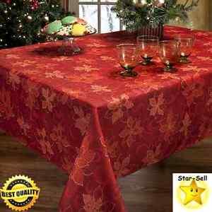 Christmas poinsettia fabric tablecloth 60 x 120 39 39 holiday for 120 table runner christmas